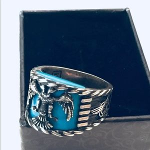 Sterling Silver Eagle Turquoise Ring Size 10.5